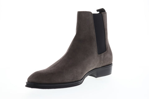 Bruno Magli Loren Mens Gray Suede Casual Dress Slip On Boots Shoes