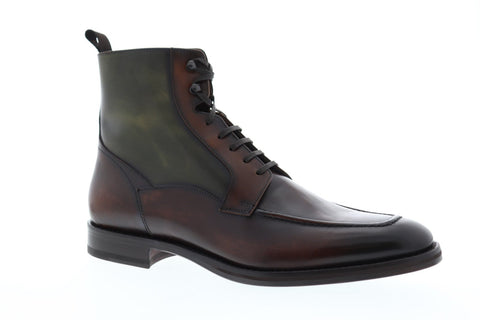 Bruno Magli Savino Mens Brown Leather Casual Dress Lace Up Boots Shoes