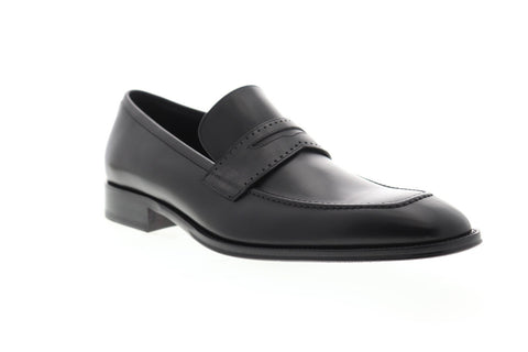 Bruno Magli Cicero Mens Black Leather Casual Dress Slip On Loafers Shoes