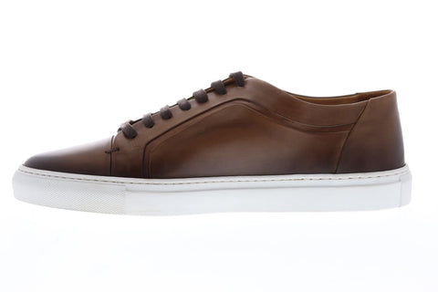Bruno Magli Salvini Mens Brown Leather Low Top Lace Up Sneakers Shoes