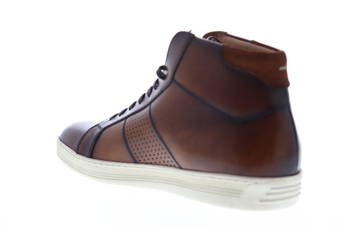 Bruno Magli Alvino Mens Brown Leather High Top Lace Up Sneakers Shoes