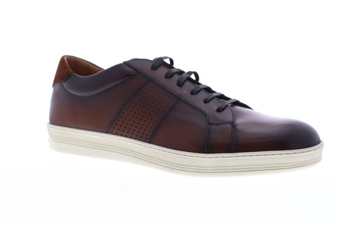 Bruno Magli Alvez Mens Brown Leather Low Top Lace Up Sneakers Shoes