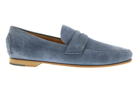Bruno Magli Riva Mens Blue Suede Casual Dress Slip On Loafers Shoes