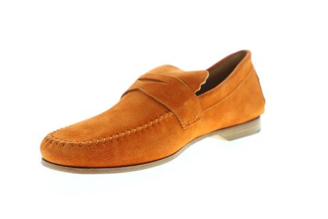 Bruno Magli Riva Mens Orange Suede Casual Dress Slip On Loafers Shoes