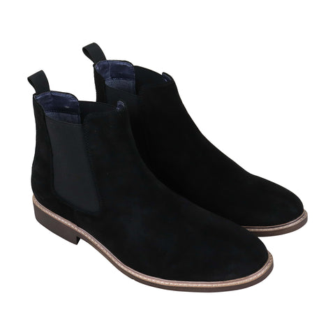 Steve Madden Bonfire Mens Black Suede Casual Dress Slip On Boots Shoes
