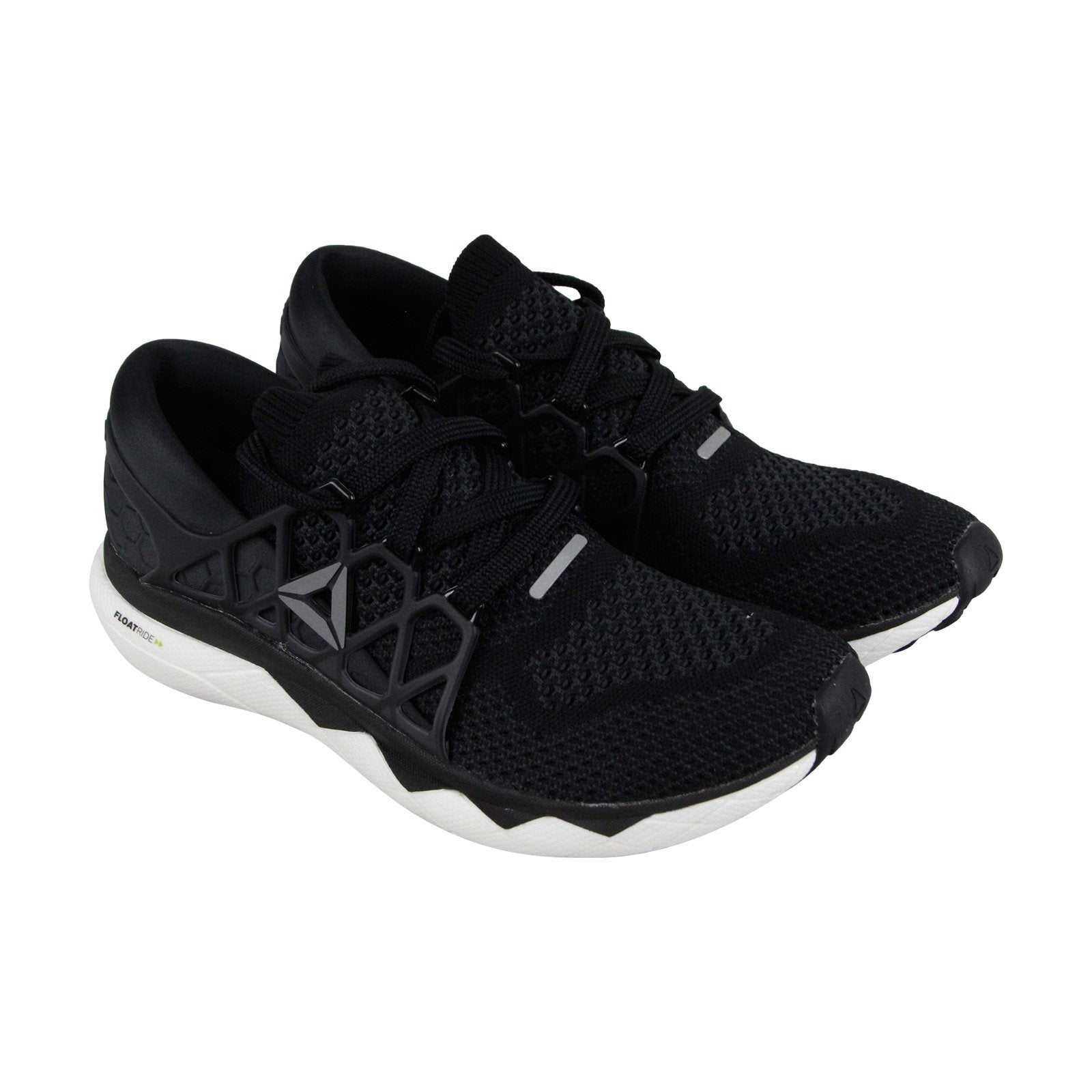 lowest price 7a9f8 a2b39 Reebok Floatride Run Ultk Mens Black Mesh Athletic Lace Up Running Shoes