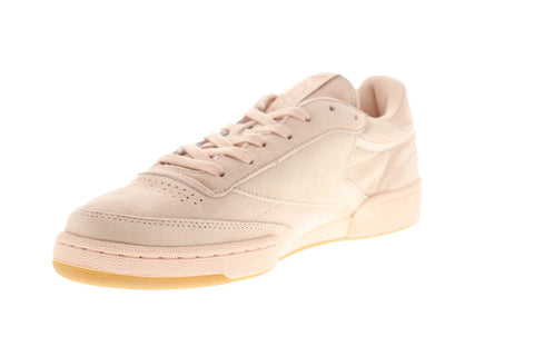 Reebok Club C 85 Tg Mens Pink Suede Low Top Lace Up Sneakers Shoes