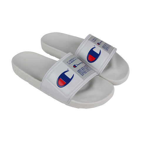 Champion Ipo Jock Mens White Synthetic Slides Slip On Sandals Shoes