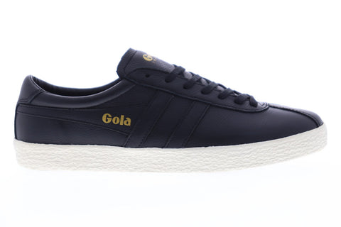 Gola Trainer Mens Black Leather Low Top Lace Up Sneakers Shoes