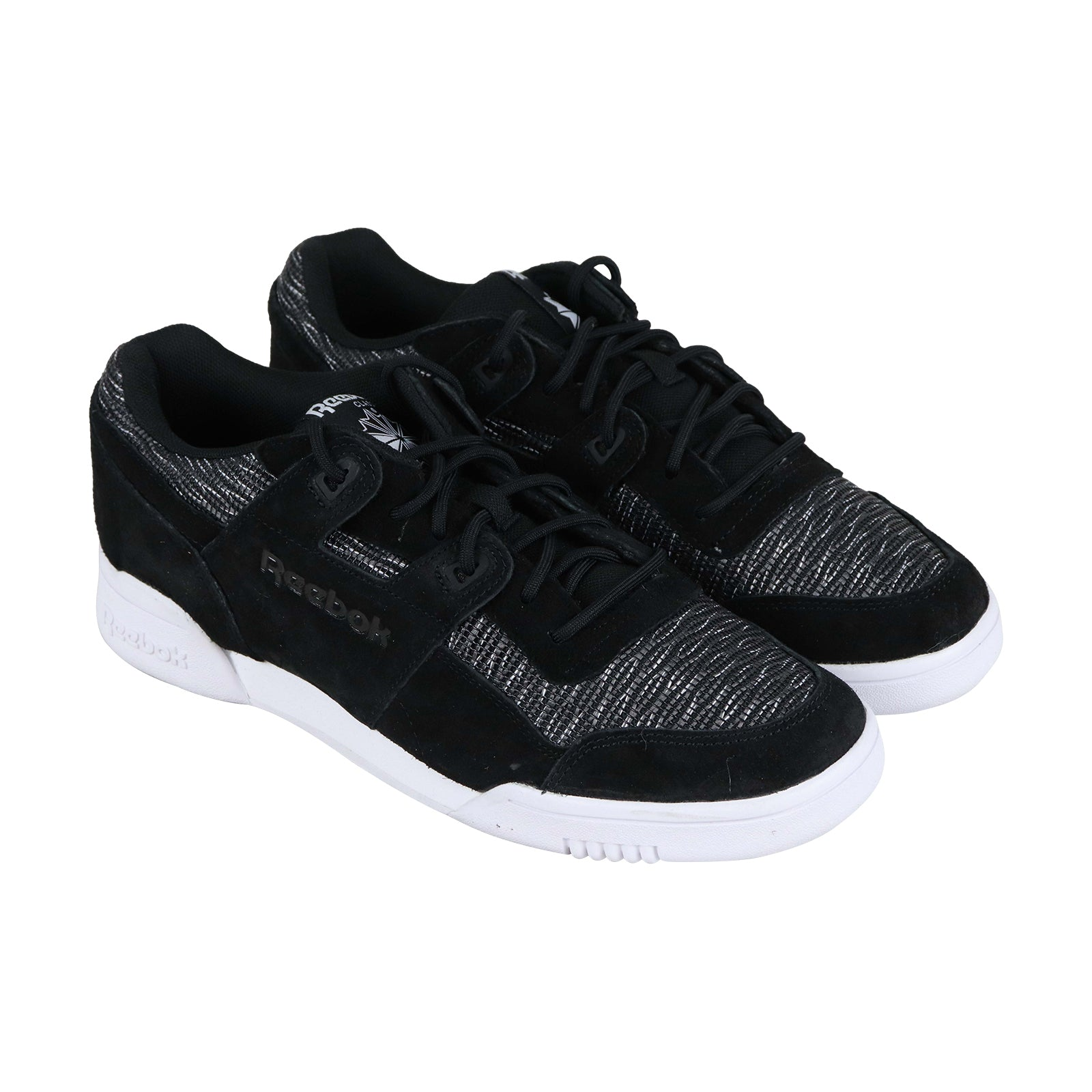 look for official shop shopping Reebok Workout Plus Fw Mens Black Nylon & Suede Low Top Sneakers Shoes