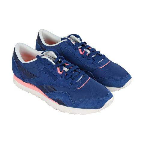 Reebok Classic Nylon Mens Blue Suede & Nylon Low Top Lace Up Sneakers Shoes