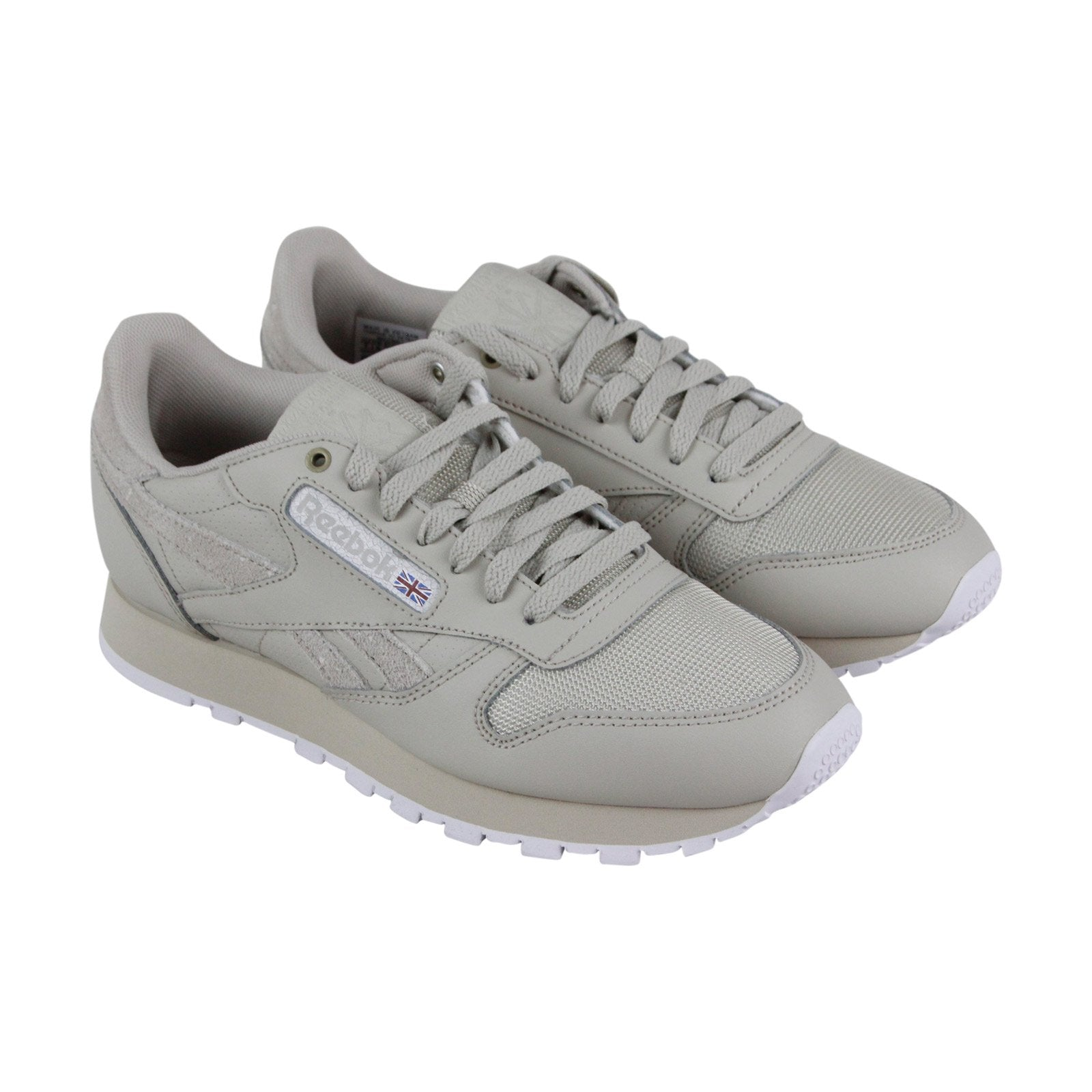 Reebok Classic Leather Mens Gray Leather Low Top Lace Up Sneakers Shoes