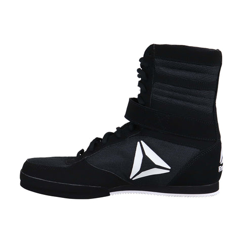 Reebok Boxing Boot Mens Black Nubuck & Nylon Athletic Strap Wrestling Shoes