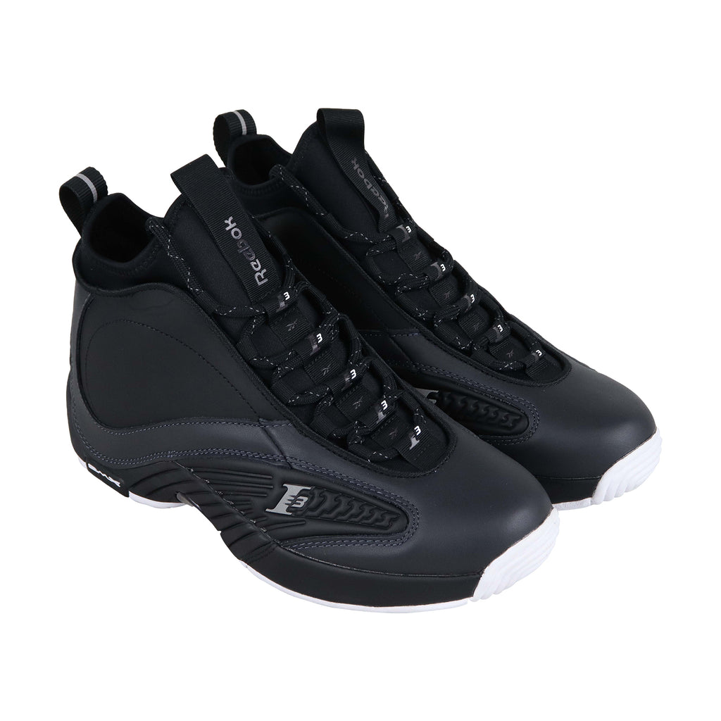 c8cb1289bd Reebok Iverson Answer Iv.V Mens Black Leather High Top Sneakers Shoes