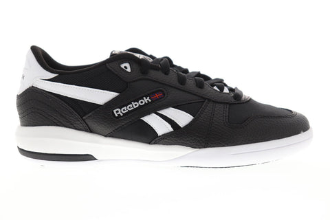 Reebok Unphased Pro Mens Black Leather Low Top Lace Up Sneakers Shoes