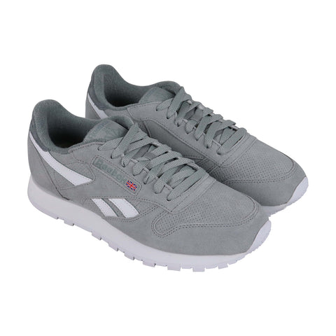 Reebok Classic Leather Mu Mens Gray Suede Low Top Lace Up Sneakers Shoes