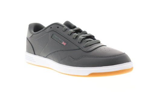 Reebok Club Memt Mens Gray Leather Low Top Lace Up Sneakers Shoes
