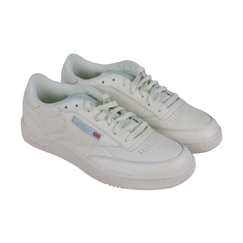 Reebok Club C 85 Mu Mens White Leather Low Top Lace Up Sneakers Shoes