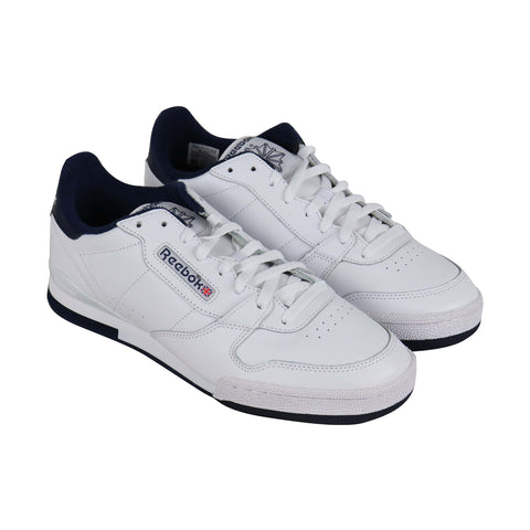 Reebok Phase 1 Mu Mens White Leather Tennis Lace Up Sneakers Shoes