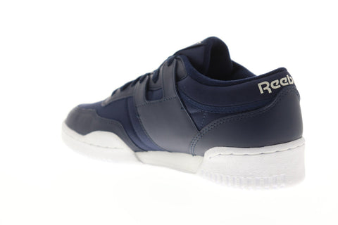 Reebok Workout 85 Txt Mu Mens Blue Textile Low Top Lace Up Sneakers Shoes