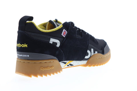 Reebok Workout Plus Ripple Mu Mens Black Suede & Nylon Low Top Sneakers Shoes