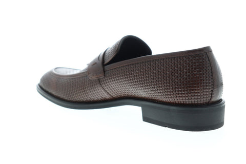 Steve Madden Ebbert Mens Brown Leather Casual Slip On Loafers Shoes