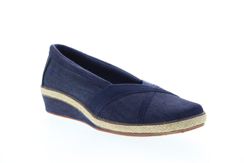Grasshopper Misty Wedge EF52838B Womens Blue Wide 2E Canvas Loafer Flats Shoes