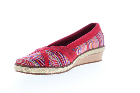 Grasshopper Misty Wedge EF52840B Womens Red Wide 2E Canvas Loafer Flats Shoes