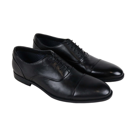 Steve Madden Elwood Mens Black Leather Casual Dress Lace Up Oxfords Shoes
