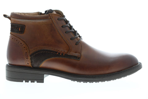 Steve Madden Farron Mens Brown Leather Zipper Casual Dress Boots Shoes