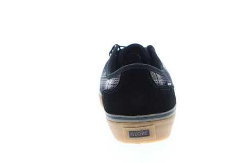 Globe Mahalo GBMAHALO Mens Black Suede Plaid Low Top Skate Sneakers Shoes