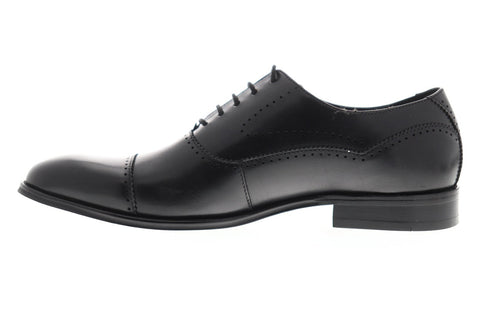 Steve Madden Gemelli Mens Black Leather Casual Dress Lace Up Oxfords Shoes