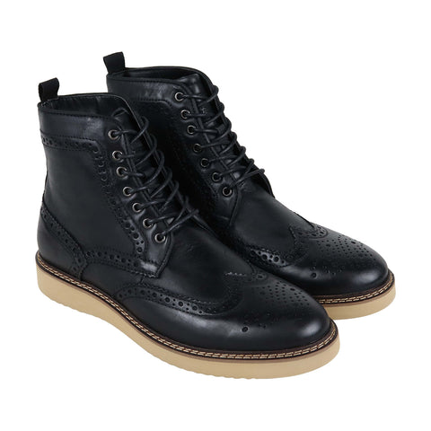 Steve Madden Goddard Mens Black Leather Casual Dress Lace Up Boots Shoes