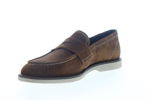 Bruno Magli Hoover Mens Brown Suede Slip On Penny Loafers Shoes