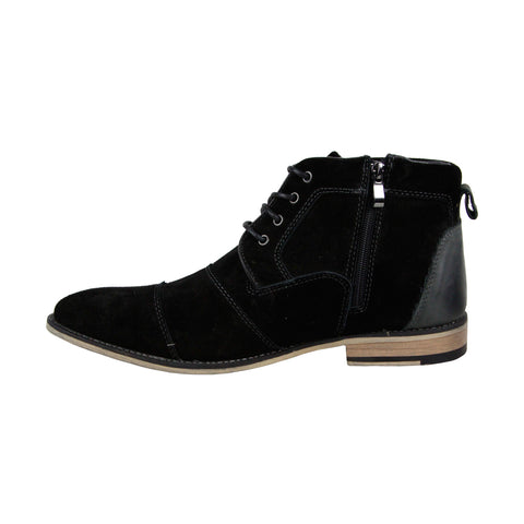Steve Madden Johnnie Mens Black Suede Casual Dress Lace Up Boots Shoes