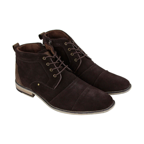Steve Madden Johnnie Mens Brown Suede Casual Dress Lace Up Boots Shoes