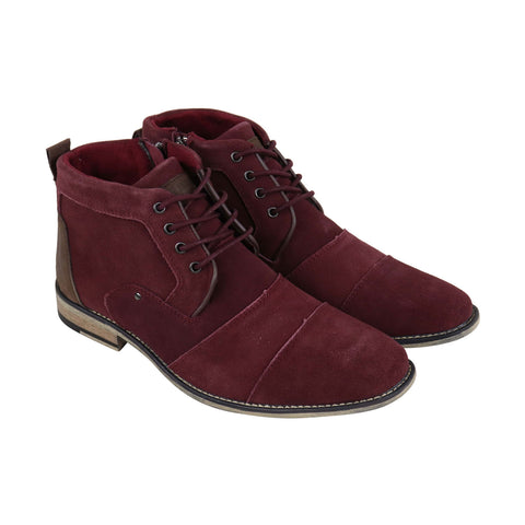Steve Madden Johnnie Mens Red Suede Casual Dress Lace Up Boots Shoes