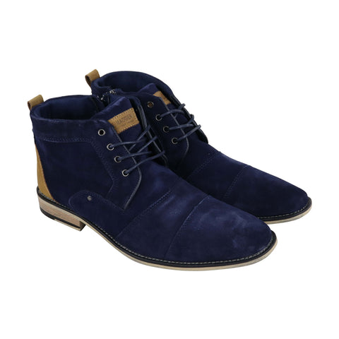 Steve Madden Johnnie Mens Blue Suede Casual Dress Lace Up Boots Shoes