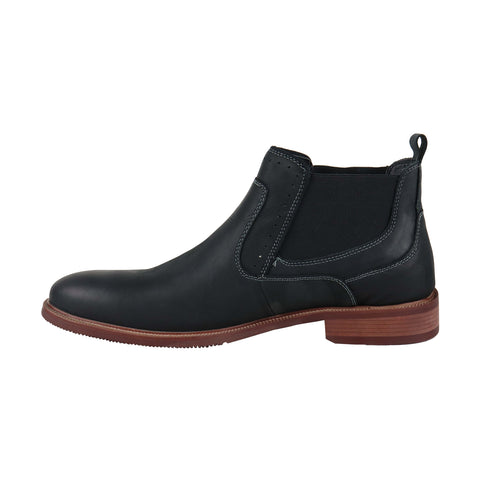Steve Madden Kemptin Mens Black Leather Casual Dress Slip On Boots Shoes