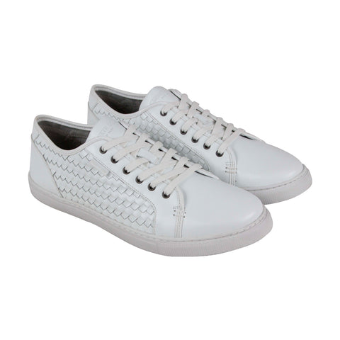 Kenneth Cole New York Bring About Mens White Leather Low Top Sneakers Shoes