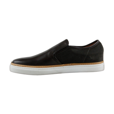 Kenneth Cole Premier League Mens Black Leather Slip On Sneakers Shoes