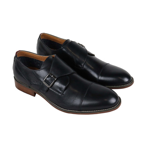Steve Madden Ludo Mens Black Leather Casual Dress Strap Oxfords Shoes