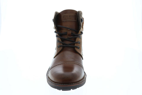 Steve Madden Lundin Mens Brown Leather Lace Up Casual Dress Boots