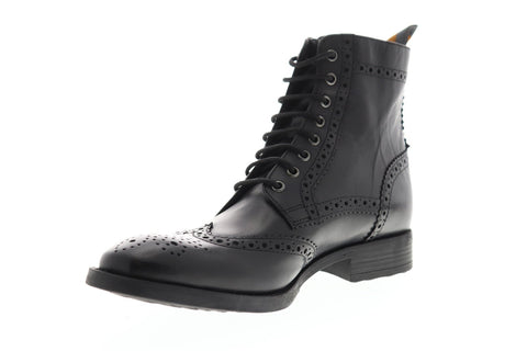 Frank Wright Cypress Mens Leather Black Casual Dress Lace Up Boots Shoes