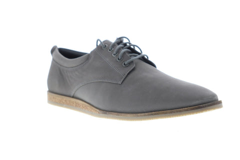 Frank Wright Kane Mens Gray Leather Casual Dress Lace Up Oxfords Shoes