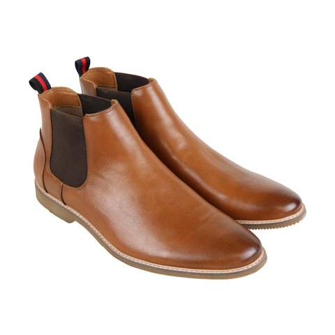 Steve Madden Native Mens Brown Leather Casual Dress Slip On Boots Shoes