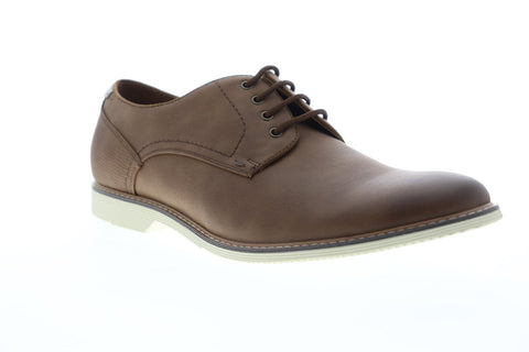Steve Madden Newcastle Mens Brown Leather Casual Lace Up Oxfords Shoes