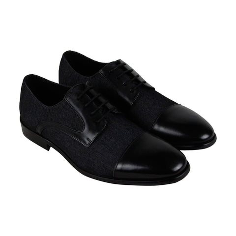 Steve Madden Nightcap Mens Black Textile Casual Dress Oxfords Shoes