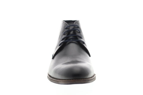 Steve Madden Noland Mens Black Leather Casual Dress Lace Up Chukkas Shoes