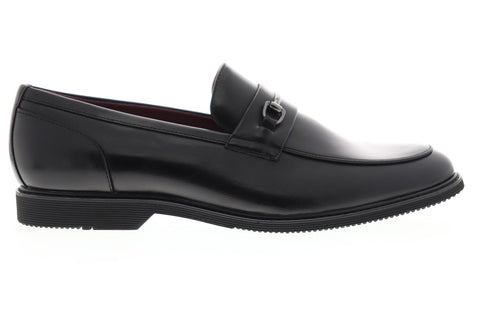 Steve Madden Noris Mens Black Leather Dress Slip On Loafers Shoes